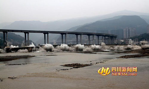 绵广高速二专线嘉陵江大桥爆破案例
