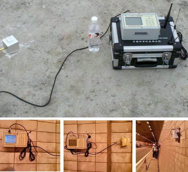 无线网络测振仪隧道现场的监测点